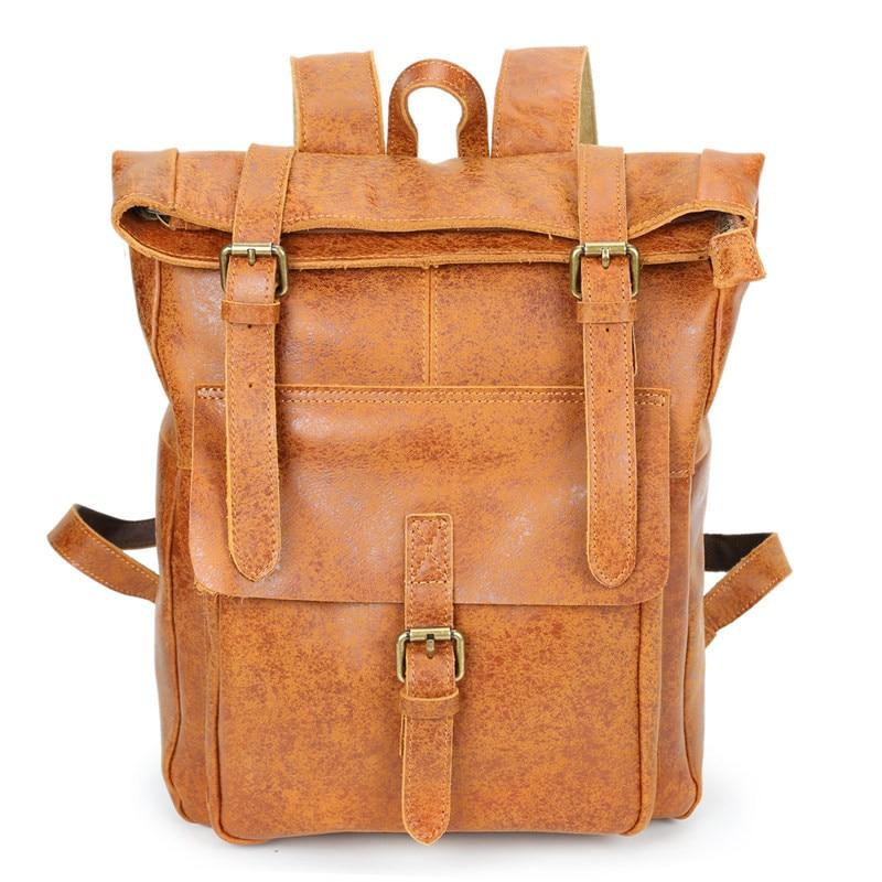 Nesitu High Quality Vintage Brown Geunine Leather Men Backpacks Real Skin Women Backpack Travel Bags M8186 Men's Bags