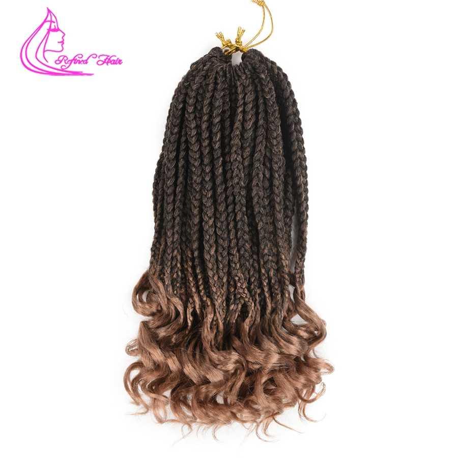 Рафинированные волосы Свободные кудрявые концевые плетение Парик Косы 18 дюймов Омбре синтетические плетеные волосы для наращивания Черный Коричневый Красный 22 пряди/шт