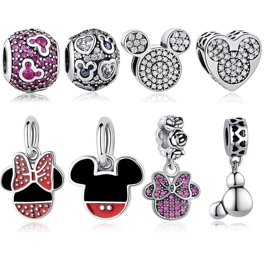 b99e570ef Cute Real 925 Sterling Silver Cartoon Mickey Minnie Heart Bead Charm Fit  Original pandora Charm Bracelet DIY Jewelry Accessories-in Beads from  Jewelry ...