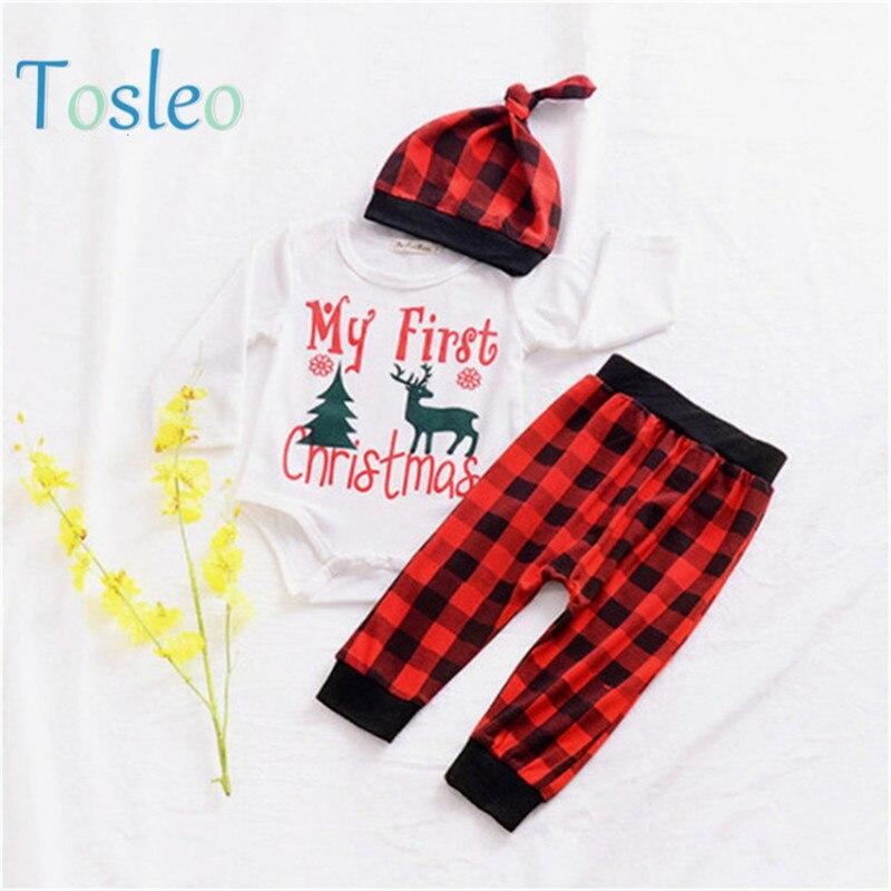 los angeles 6e82e 9d962 Meine erste Weihnachten Baby Kleidung Jungen Party Kleidung Body + Hose +  Hut Infant Outfits Lustige Brief Drucken Festival Kleidung 0-2Y