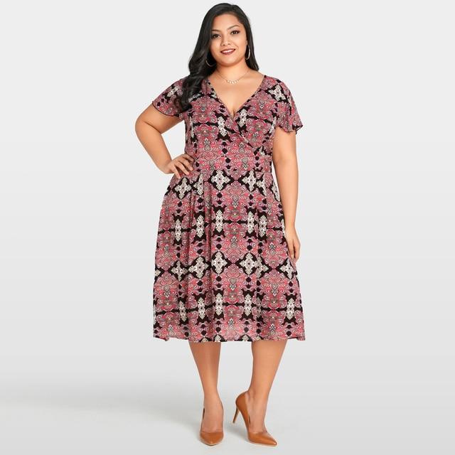 bc555848dc8 Plus Size Womens Clothing Sexy V Neck Vintage Floral Print Short Sleeve  Dress Elegant Slim Large