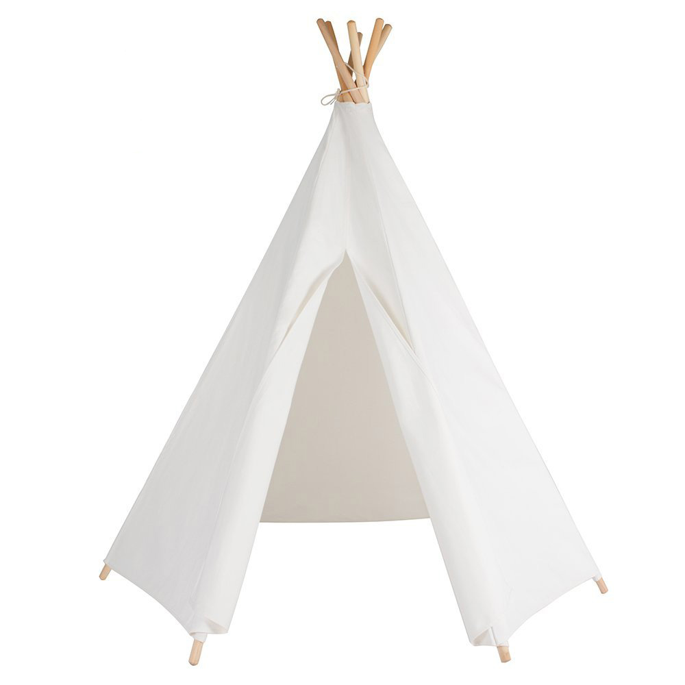 6 Poles Pure White Teepee Kid Play Tent Cotton Canvas Kids