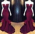 Moda de nova V Neck Borgonha Sereia Vestidos de Baile 2017 Até O Chão comprimento de Cetim Longo Vestido de Baile Vestido de Festa À Noite Para As Mulheres EF29