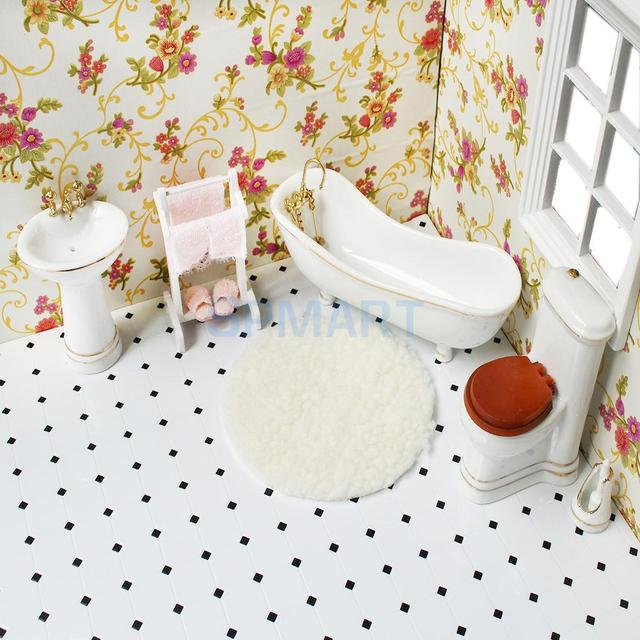 1/12 Scale Dollhouse Miniature Bathroom Furniture Set Decoration Kit Dolls  House Accessories Bathtub Toilet