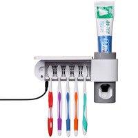 Oferta Antibacterial, luz ultravioleta para cepillo Dental, dispensador automático de pasta de dientes, esterilizador, soporte para cepillo de dientes, limpiador, higiene Dental