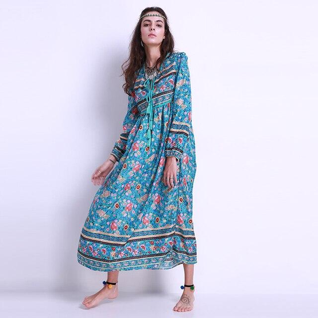 c990cee4927d1a 2018 Fashion Vrouwen Bloemenprint Chiffon Lange Maxi Jurk Lange Mouwen  V-hals Losse Strand Midi