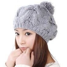 7 цветов зима теплая вязаная шапка женщины леди мода скрученные цветы узор ручной шерсти шапочки вязаные шапки широкий эластичный Skully