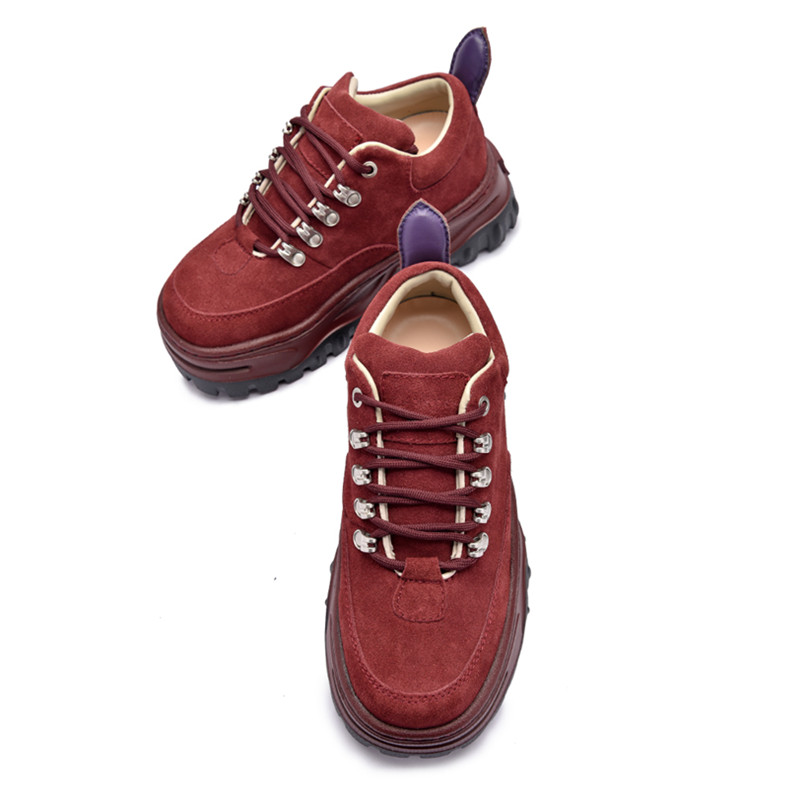 b06f86b9a Jady Rose Wine Red Women Sneakers Lace Up Platform Creepers Flat Shoes  Woman Ladies Casual Flats. sku: 32957485656