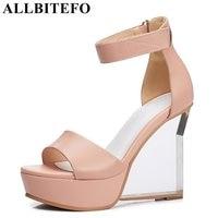 ALLBITEFO Fashion Brand Crystal Heel Genuine Leather Wedges Heel Platform Women Sandals High Heels Party Shoes