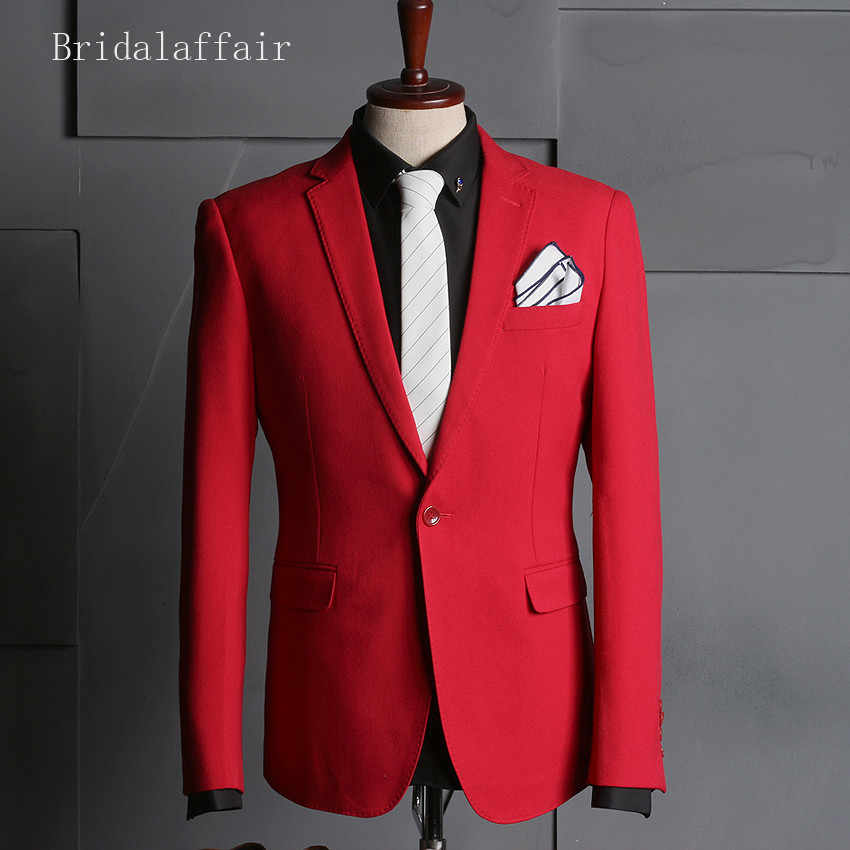 Trajes de graduación de boda para hombre esmoquin de novio rojo con pantalones de novio mejor hombre traje chaqueta pantalones chaleco 3 piezas