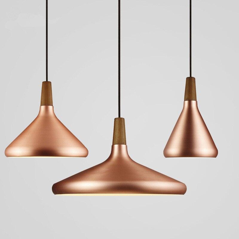 Nordic Retro Pendant Lights Modern Led Pendant Lamps Copper Hanglamp Aluminum luminaria for living room kitchen light fixtures wall shelf for tea pots