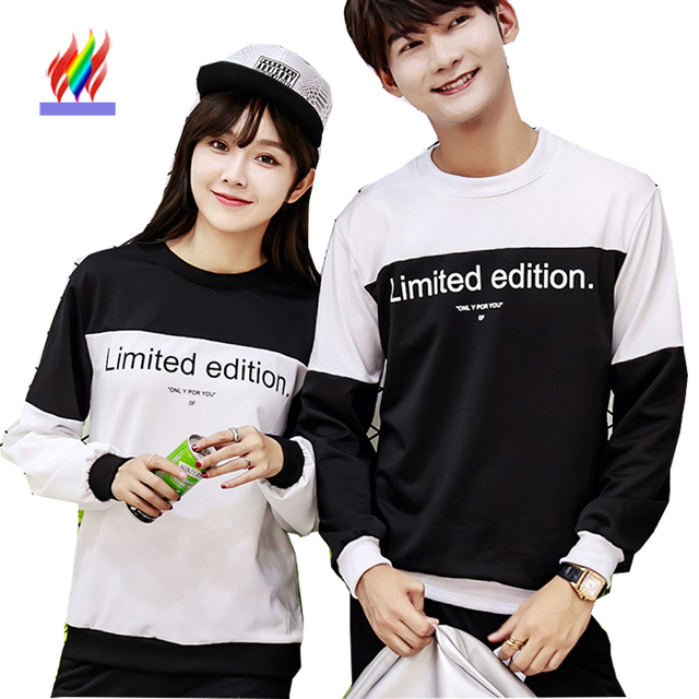 8358c357a935 Couples Clothes Lovers Fall Autumn Tops Designer Women Casual Letter  Printed T-Shirt Preppy Style Korean Matching Couple T Shirt