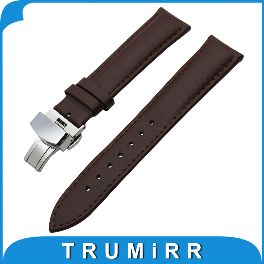 18mm 20mm 22mm 24mm Genuine Leather Watch Band Universal Watchband Butterfly Buckle Strap Wrist Belt Bracelet Black Brown 18mm 20mm 22mm quick release watch band butterfly buckle strap for tissot t035 prc 200 t055 t097 genuine leather wrist bracelet