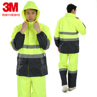 3M R2911/R2912 Reflective waterproof raincoat Tops + pants a suit original Warning service Outdoor work Safety warning suit
