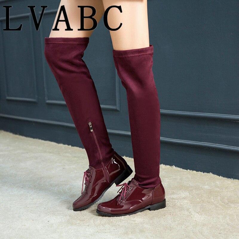 2018 Neue Herde Leder Frauen Über Das Knie Stiefel Lace Up Sexy High Heels Frauen Schuhe Lace Up Winter Stiefel Warm Größe 34-43 Dauerhafte Modellierung