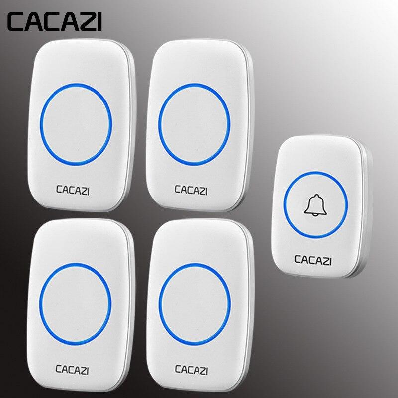 CACAZI Home Waterproof Intelligent Wireless Doorbell US EU UK Plug LED Light call Bell 1 Button 4 Receivers 60 Chime 5 VolumeCACAZI Home Waterproof Intelligent Wireless Doorbell US EU UK Plug LED Light call Bell 1 Button 4 Receivers 60 Chime 5 Volume