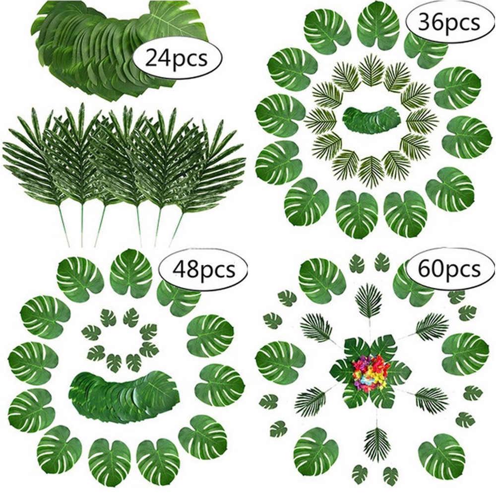 Artificial folhas de palma 1 conjunto criativo praia verão casamento bela aloha luau decoração da mesa selva havaiana temático festa