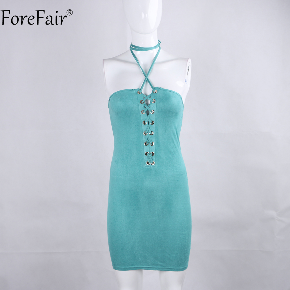 ForeFair Women Pink Black Midi Halter Bodycon Dress Summer Criss ...