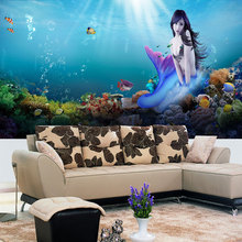 Free Shipping 3D Sexy Mermaid mysterious undersea world TV background wall bothroom spa mural wallpaper