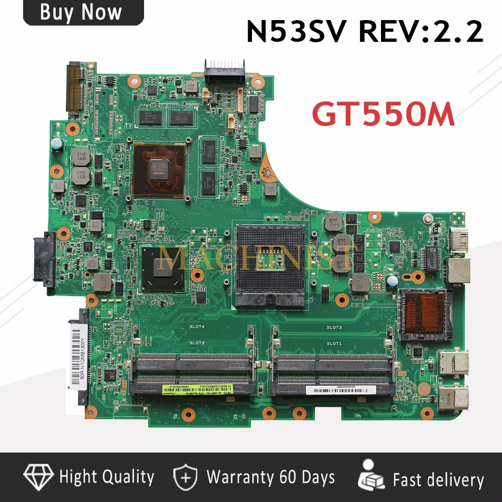 N53SV  laptop  motherboard For ASUS N53SN N53SM N53S N53SV REV 2.0 laptop motherboard HM65 PGA 989 DDR3 4 RAM USB 3.0-in Motherboards from Computer & Office    1