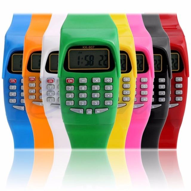 2018 Silicone Date Multi-Purpose Fashion Child Kid Electronic Calculator Wrist W
