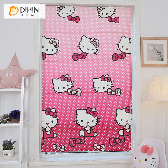 Pink Cartoon Printing Blackout Curtains For Living Room Roman Blinds ...