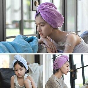 Image 5 - Быстросохнущая шапочка для волос для девочек, шапочка для полотенец, шапочка для ванной, однотонная шапочка для полотенец из микрофибры, супер впитывающая шапка для сушки волос