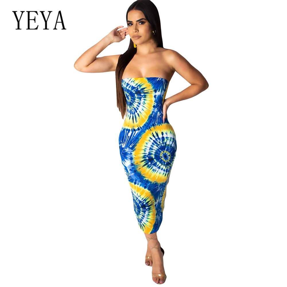 YEYA Summer Celebrity Retro Party Bandage Dress Women Sleeveless Strapless Sexy Night Club Bodycob Pencil Vestidos