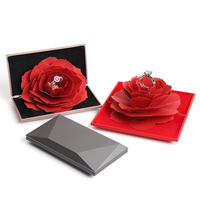 Red Diamond Face Rotating Rose Ring Box Wedding Valentine's Jewelry Gift Box Pink Resin Velvet Paper Ring Jewelry Packaging Case