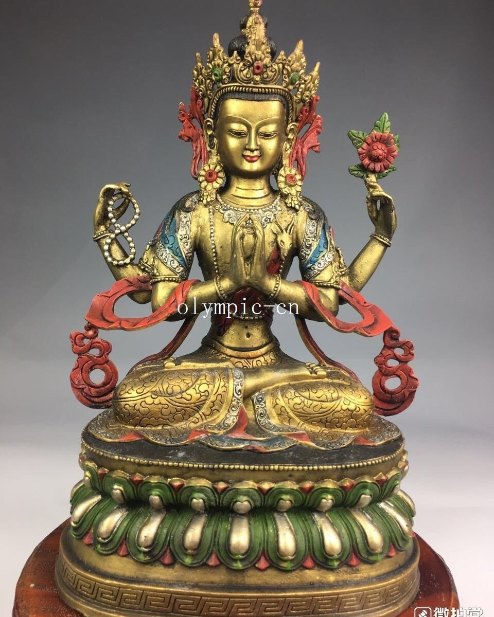 18 bronze gild silver drawing buddhism four arm Guanyin Chenrezik Practice18 bronze gild silver drawing buddhism four arm Guanyin Chenrezik Practice