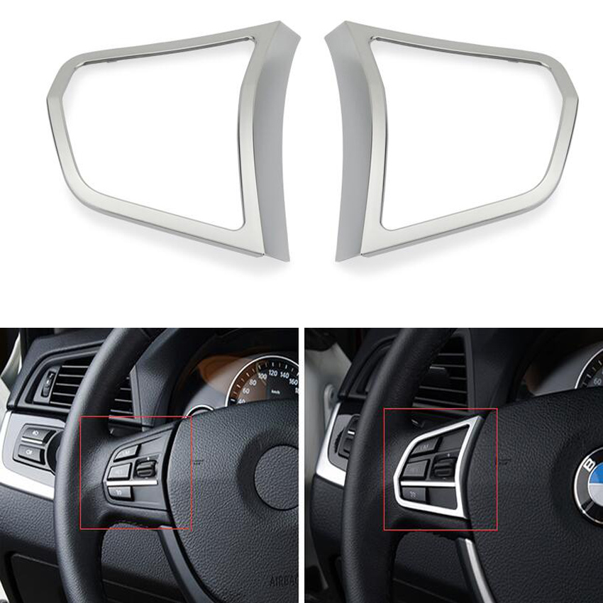 2pcs chrome steering wheel buttons cover trim car styling auto accessories interior decoration. Black Bedroom Furniture Sets. Home Design Ideas
