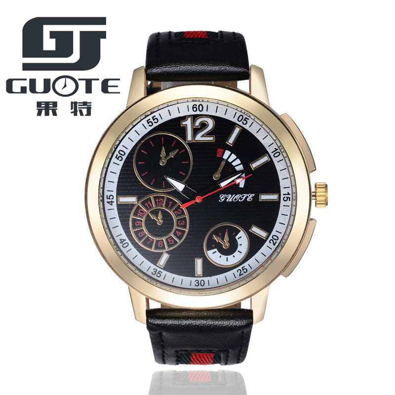 Big dial business mens watches top brand luxury digital watch men 2018 New Guote Unisex Really Leather Watches Free Shipping