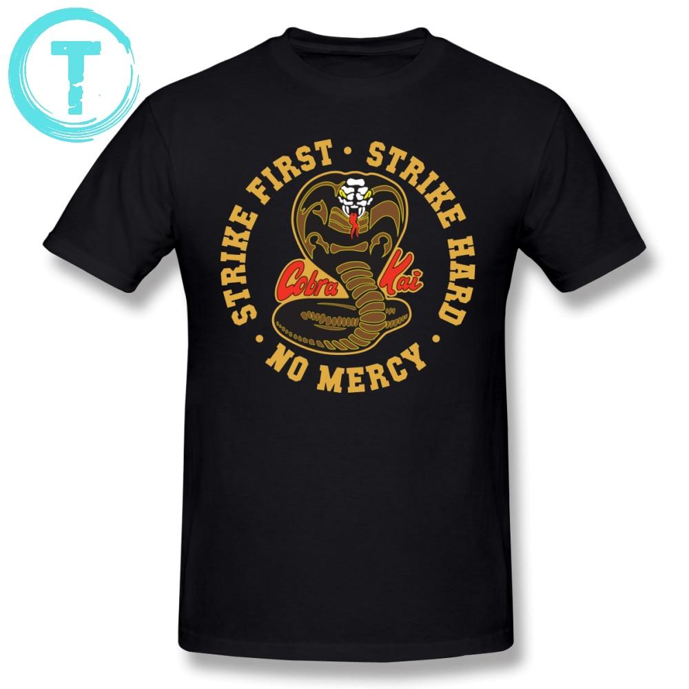 Karate Kid T Shirt Cobra Kai Strike First Strike Hard No Mercy HD Logo T-Shirt Short Sleeves Basic Tee Shirt 4xl Mens Tshirt