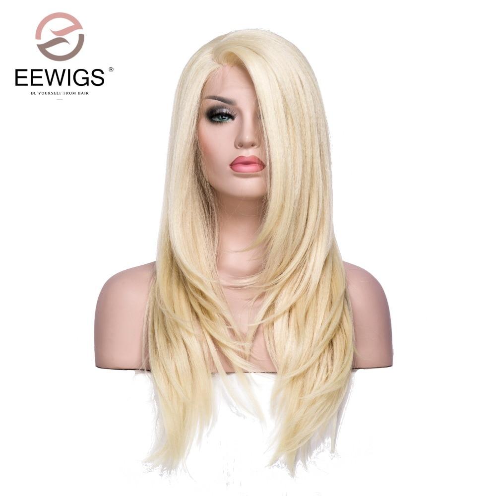 Для женщин парики прозрачного кружева с длинным яки прямо L часть блондинка Цвет длинный парик синтетические Синтетические волосы на круже...