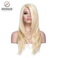 Perruques de femmes Transparent Dentelle Long Yaki L Partie Blonde Couleur longue Perruque Droite Synthétique Avant de Lacet Perruque pour les Femmes Blanches Cosplay