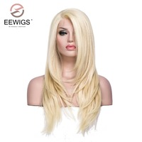 Women's Wigs Transparent Lace Long Yaki Straight L Part Blonde Color Long Wig Synthetic Lace Front Wig for White Women Cosplay