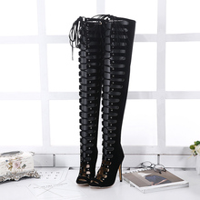 2017 Spring Sexy Girl Gladiator Black PU Faux Suede Zip Cross Lace Up Peep Toe Thigh High Boots Women High Heels Shoes Sandals