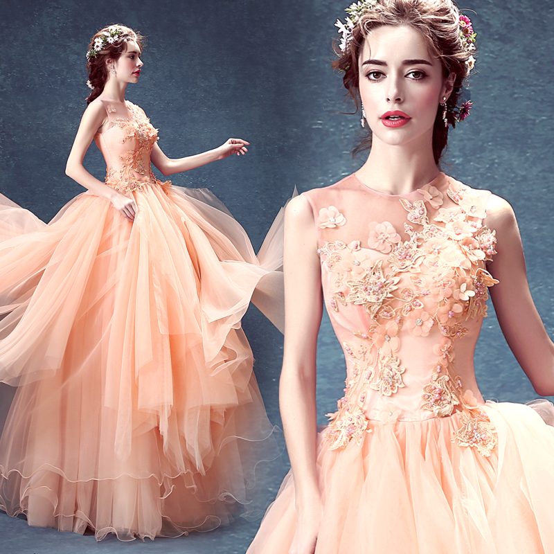Ball Gown Tulle Lace Beaded Sequins Luxury Pink Long Formal Evening ...