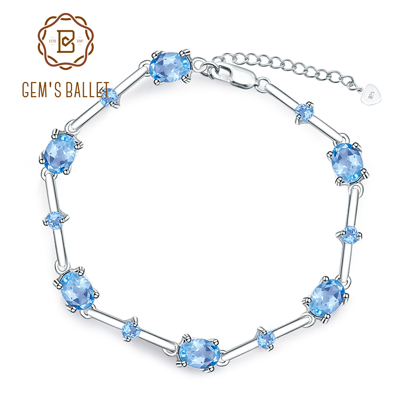 GEM S BALLET Natural Swiss Blue Topaz Pure 100 925 sterling silver Gemstone Chain Link Bracelet