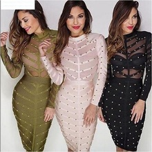 2017 women winter bodycon party dress olive green mesh black red khaki knee  length celebrity long 50df28ffa501