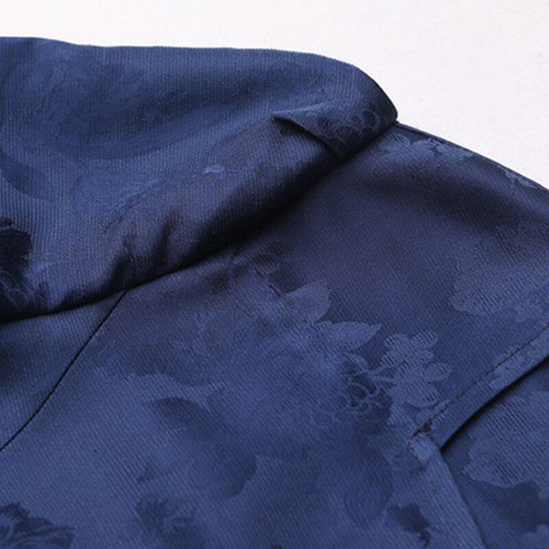 Col Soie Femmes Longues Haute Slim Taille Automne Bleu Marine Voa Imprimé Jacquard Lourde A7656 Vintage Robe Robes De Grande Carré qZCwTWxnOX