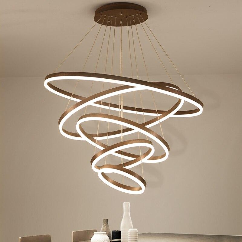 High quality rings Modern Led Chandelier For Living Diningroom Kitchen luminaire suspendu Hanging Pendant chandelier lighting