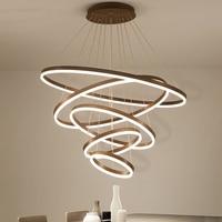 Высокое качество кольца Современная светодио дный светодиодная Люстра для гостиной столовая кухня светильник suspendu подвесная люстра освещ