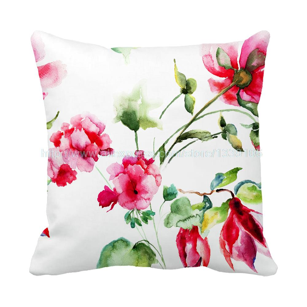 Newest Hot Chinese style ink painting printed decorative pillow flower sofa bed custom personalized cushion home decor almofada
