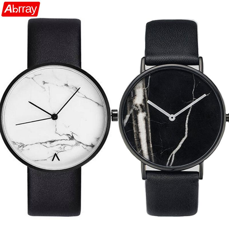 Abrray Marble Pattern Couple Quartz Watch Fashion Ladies Dress Watches Unisex Wristwatch PU Leather Strap Minimalist Jewelry Men