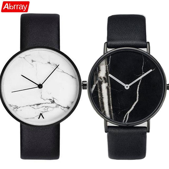 Abrray Marble Pattern Couple Quartz Watch Fashion Ladies Dress Watches Unisex Wr
