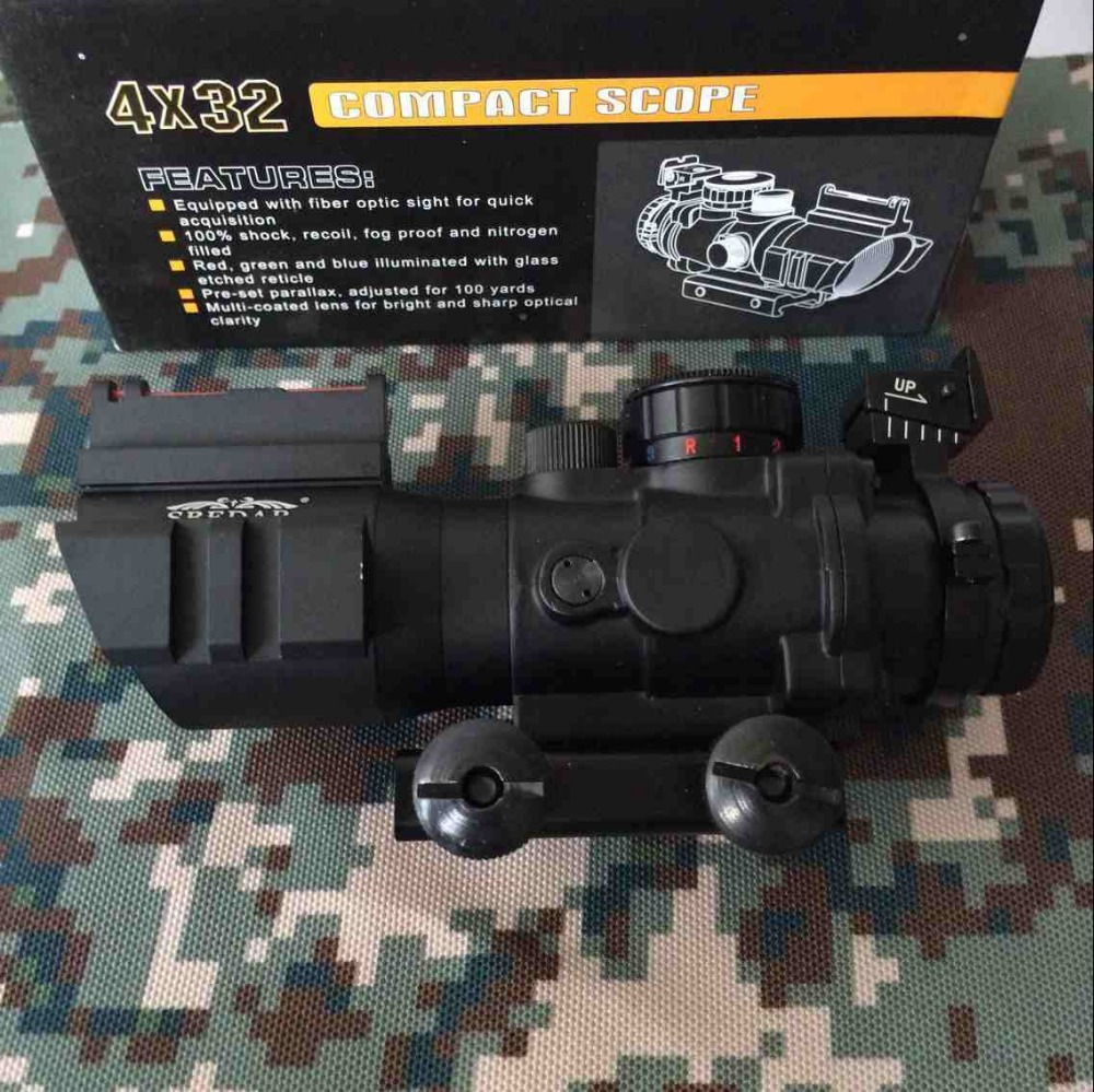 New-Arrival Outdoor sports 4x32 Optic Rifle Scope Fiber Airsoft Gun Sight 3-Colour Illuminated for Hunting Shooting with 20mm optic sight leapers 4 16x50 optical sight airsoft chasse rifles for hunting leapers scope airsoft gun luneta para rifle caza