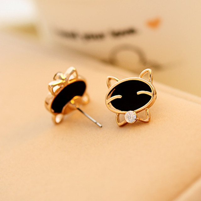 brixini.com - Smiling Black Cat Stud Earrings