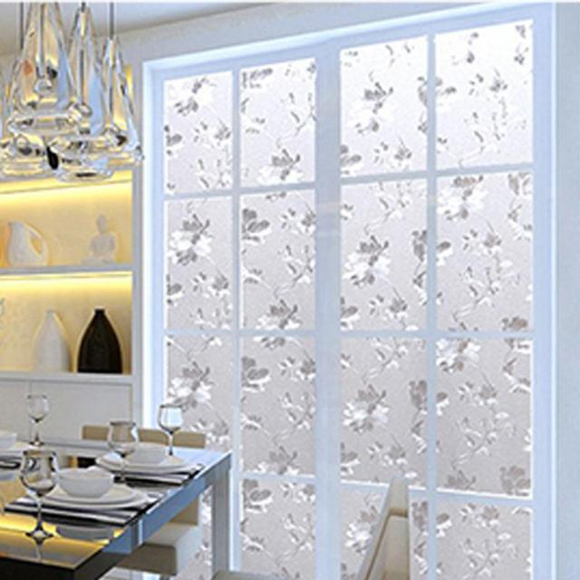 Self Adhesive Glass Sticker 3D Flower Frosted Flower Window Films Shower  Door Window Privacy PVC Frosted