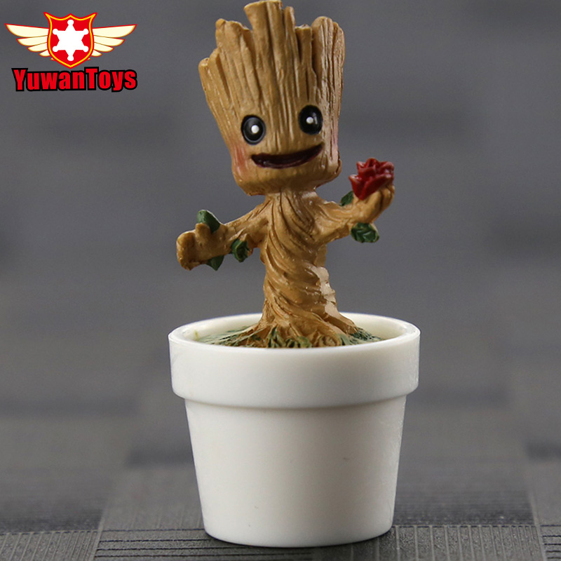 Avengers Infinity War Tree Man Potted Guardians Of The Galaxy Action Figure Model Blocks Q Edition Car Decoration Toys